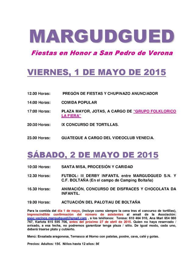 PROGRAMA DE FIESTAS SOCIOS 2015